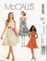 McCalls Pattern M5582 Misses Mock Wrap Dress Flared Skirt Size 6-14 UNCUT
