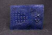 Blue Genuine Crocodile Alligator Horn Back Skin Leather Men Bifold Wallet