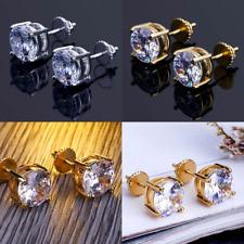Men 14k Gold or 925 Sterling Silver 6mm Round Diamond Screw Back Stud Earrings