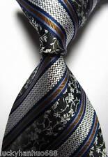 New Stripes Floral White Blue Brown JACQUARD WOVEN 100% Silk Men's Tie Necktie
