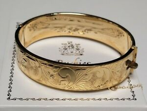 Vintage English 1960's 9ct Rolled Filled Gold Engraved Hinged Bangle 32 grams