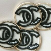 Chanel Buttons 4pc CC Ivory Black 🖤 Silver White 23mm Unstamped 4 Buttons AUTH!