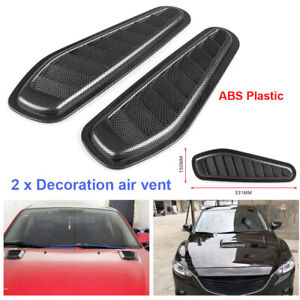 Carbon Fiber Surface Car Air Flow Scoop Turbo Bonnet Vent Cover Hood Decor ABS