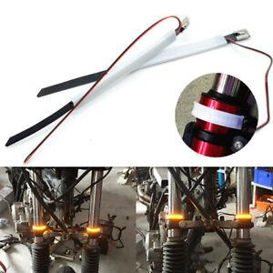 2Pc Amber Fork Tubes LED Turn Signal Lights Trip for Custom Chopper Cruiser Moto
