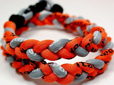 "NEW! BASEBALL Titanium TORNADO Sport Necklaces 20"" Orange Gray Grey Braided"