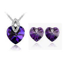 Elegant Crystal Jewellery Set Dark Purple Hearts Studs Earrings & Necklace S135