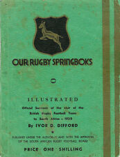 """OUR RUGBY SPRINGBOKS"" OFFICIAL SOUVENIR VIST OF LIONS TO SOUTH AFRICA 1938"