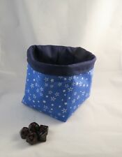 Square Dice Bag - Blue Sparkle Stars - Reversible Cotton - Tile Drawstring Pouch