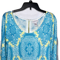 SOFT SURROUNDINGS Top Size PL Floral Print 3/4 Sleeve Tunic Top Knit Pullover