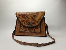 Vintage Hand Tooled Leather Purse Crossbody Hippie Flowers Embossed Roses Mexico