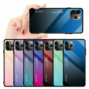 Luxury Premium Tempered Glass Gradient TPU Frame Phone Case Cover for iPhone 11