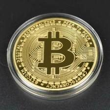 New 2018 Bitcoin Physical Collectible Coin BTC Gold Plated 1 Ounce 40mm UK STOCK