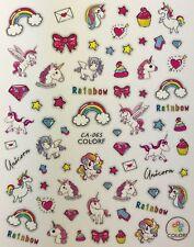 Nail Art 3D Decal Stickers Unicorn Rainbow Cupcake Star Bow Heart Pegasus CA065
