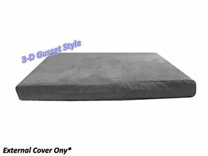 """Gray Durable Luxury Soft Suede Gusset Dog Bed Duvet Zipper Cover Case 55""""x47""""x4"""""""
