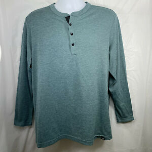 Adidas Mens Large Adicross Green Heather No-Show Range Double Knit Henley Shirt