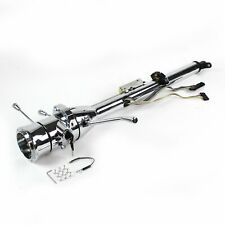 """33"""" Chrome Keyed Steering Column Column Shift with 9 Hole Wheel Adapter"""