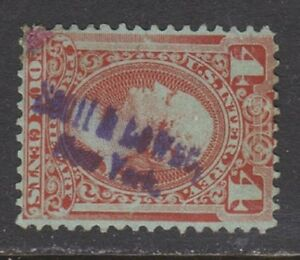 US Revenue (Scott RB14b) 1875 4c Red Brown PROPRIETARY Stamp HC USED