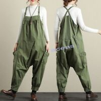 New Fashion Womens Cotton Oversize Rompers Loose Jumpsuits Casual Pants Overalls