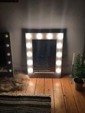 Hollywood Vanity Mirror Handmade Wood Grey