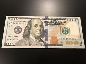US $100 Dollar Bill FANCY Serial Number - Circulated Note - S/N  LD 2020/7001