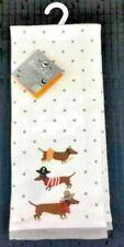 Set of 2 Dachshund Doxie Sausage Dog Halloween Costumes Kitchen Dish Hand Towels