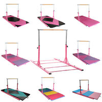 Adjustable Horizontal Bar W/Gym Mat Gymnastics Training Sports Equipment Pink