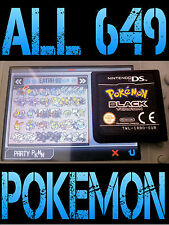 Véritable POKEMON NOIR avec tous les 649 Shiny Débloqué Max objets Nintendo DS Blanc