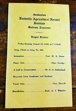 1930 Nashville Agricultural Normal Institute Madison TN Tennessee Graduation