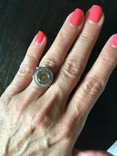 "NEW ""designer inspired"" Round Topaz CZ Ring Pave & Cable Detail size 6"