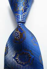 New Classic Checks Blue White Brown JACQUARD WOVEN 100% Silk Men's Tie Necktie