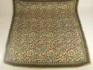 Italian Silk  Scarf Pocket Square Handkerchief Hand Rolled PAISLEY GREEN RED