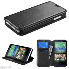 New For HTC Desire 510 Phone Leather Flip Wallet Pouch Case Cover Stand BLACK
