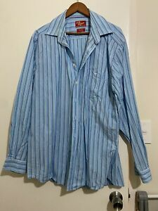 RM Williams XXL Blue Stripe Long Sleeve Shirt