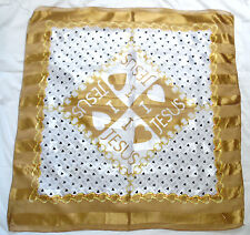 """WHITE GOLD CHAINS """"I LOVE JESUS POLYESTER SCARF"""" SARONG WRAP Approx 40"""" x40"""""""