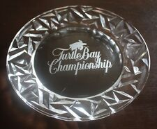 "8"" TIFFANY & CO.GLASS ETCHED TURTLE BAY HONOLULU HAWAII HOTEL GOLF TROPHY PLATE"