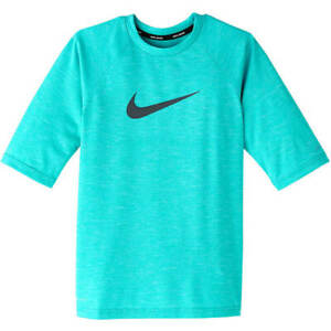 Nike Youth Boy's Heather Short Sleeve Hydroguard Rashguard M Light Blue