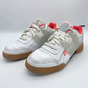 REEBOK WORKOUT PLUS ALTERED DV5243 WHITE/RED SHOES Size 10 Running Or Training