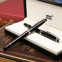 Luxury MB Meisterstuck P163 Bright Black+Gold Clip Rollerball Pen No Box