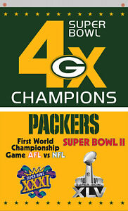 Green Bay Packers football 4x Champions Memorable flag 90x150cm3x5ft best banner