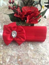 NWT Sasha Evening Red Satin Clutch Chain Strap Shoulder Purse Gem Flower Bag