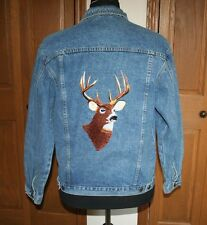 Men's TROPHY BUCK Denim Jean Jacket Embroidered Deer Buck MED *ELK CANYON* MINT