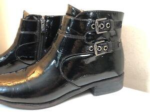 Women's Franco Sarto 'Riddick' Black Patent Double Buckle Zip Booties Size 7.5