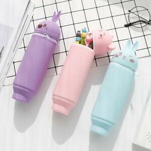 Pen Pencil Telescopic Holder Stationery Case Stand Up Silica gel pen container