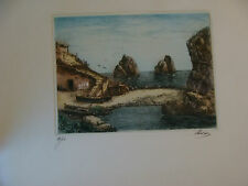 vintage Original etching or engraving: of CAPRI ITALY -Signed HAVAS in Color