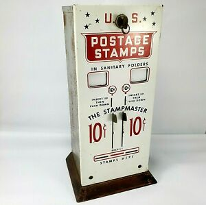 Vintage U.S. Post Office 10 Cent Postage Stamp Vending Machine Original with Key