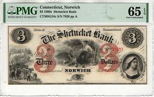 1860's $3 SHETUCKET BANK NORWICH CONNECTICUT OBSOLETE NOTE REMAINDER PMG 65 EPQ