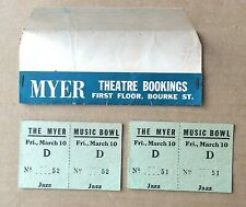 THE MYER MUSIC BOWL Jazz Concert Fri., March 10 1960s? x2 tickets in folder