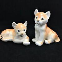 Lomonosov 1970s Pair of 2 vintage Lion Cubs Figurines Russian Hand painted USSR