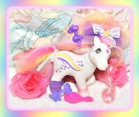 ❤️My Little Pony MLP G1 Vtg CUSTOM Fluffle Puff Rainbow RAINCURL Glitter OOAK❤️