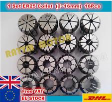 【EU+UK】16pcs ER25 Spring Collet CNC Milling Lathe for Tool Spindle( 2~16mm )